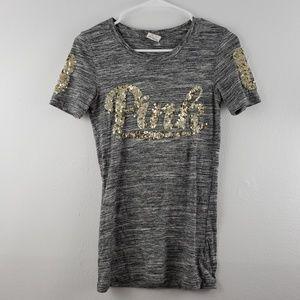 PINK Victoria's Secret Sequin Short Sleeve T-shirt